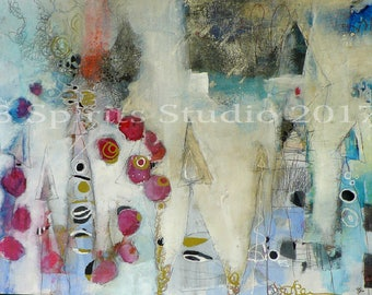 """Original Mixed Media Contemporary painting- """"Through the Pointed Pass"""""""