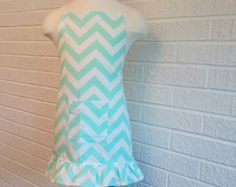 Child's Seafoam Chevron Apron with Pocket and Ruffle - Can be Personalized, Free Shipping, Made in The USA