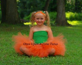 Little Pumpkin Tutu or Dress - Newborn 3 6 9 12 18 24 Months 3T 4 Halloween Photo Prop Costume - Baby Girl Orange & Green - Ready To Ship
