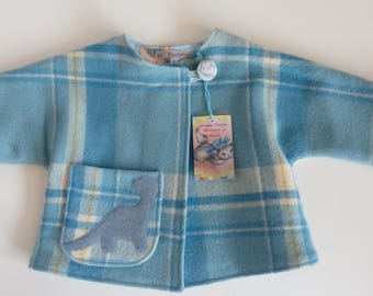 Dinosaur baby boy cute kids jacket blue check plaid dinosaur