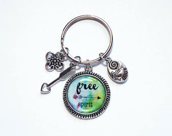 Free Spirit Key ring, Keychain with charms, gift for her, Key Ring, Stocking stuffer, keyring, keychain, follow your heart, arrow (7887)