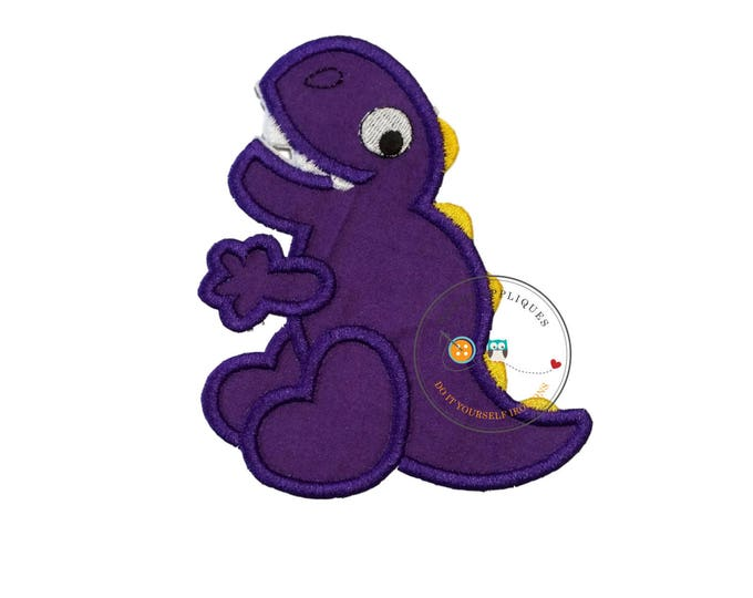 Large purple dino - iron embroidered fabric applique patch embellishment- ready to ship