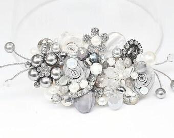 Gray Bridal Comb- Wedding Hairpiece- Gray Hair Clip- Charcoal Hairpiece- Gray Wedding Comb- Gray Hair Accessory- Bridal Hair Accessory-