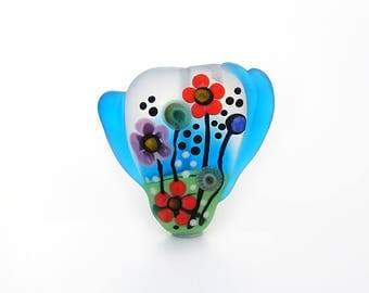 Wild Child Collection Flowers Lampwork Glass Pendant