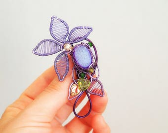 Purple flower wire wrapped brooch Gemstone Nature jewelry Shawl pin Anniversary gift for her Mother's day one of a kind Leafy Leaf Green
