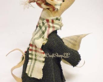Caroling Mouse - Made To Order, Primitive Mouse, Handmade Mouse, Christmas Mouse, Singing Mouse, Mouse Decor