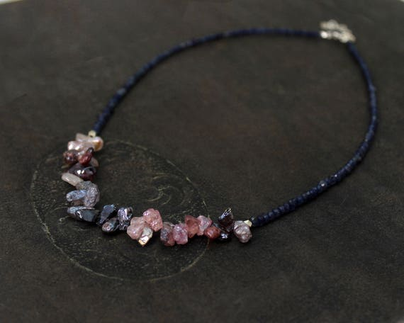 Rough, Raw Spinel Necklace. Iolite Necklace. Midnight Blue & Pink. Early Dawn. Beaded Gemstone Necklace.  N2504