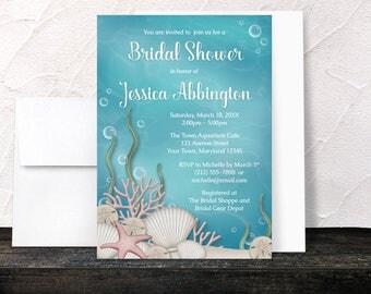 Under the Sea Bridal Shower Invitations - Whimsical Underwater or Aquarium design with Aqua Blue and Beige - Printed Invitations