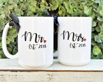 MR and MRS Mug SET - Wedding or Anniversary Gift, Custom and Date, New Bride and Groom Gift
