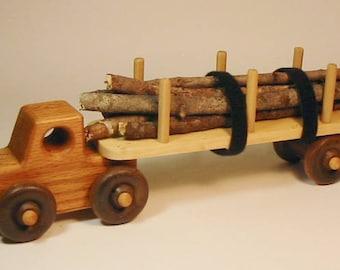 Heirloom-Quality Hardwood Toy Logging Semi-Truck