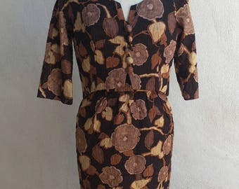Vintage Hollywood Irene Lentz designer dress jacket silk brocarde browns floral sz S