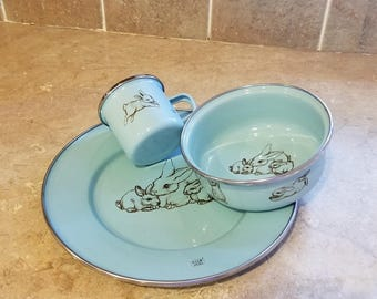 Hen-Feathers Collection Golden Rabbit  light blue enamel set one plate one bowl one cup.