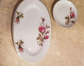 Two vintage Japan pink rose flower fine China dishes, bathroom decor or collectible dishes.