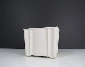 Vintage Small Modern Planter // Mid Century Retro UP-CO USA Flower Pot Rectangular White Glazed Ceramic Minimalist Simple Contemporary Tiny