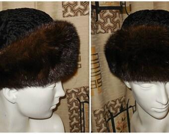 Vintage Fur Hat Mink Fur + Persian Lamb Hat 1960s Astrakhan Fur Mod Brown Mink Trim 21.5 22 in