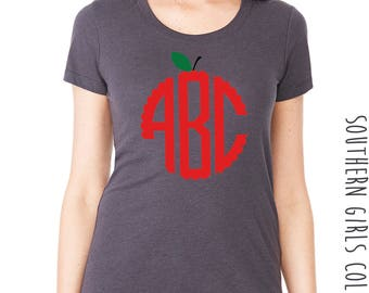 Apple Monogram Short Sleeve Shirt -Back to School Monogrammed Tee - Apple Monogrammed Teacher's Shirt - Teacher Monogram Shirt