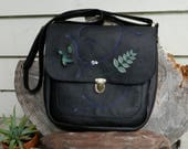 RESERVED Black Leather Satchel Large Recycled Leather Shoulder Bag with inlaid Clear Quartz Crystal and Botanical Detailing