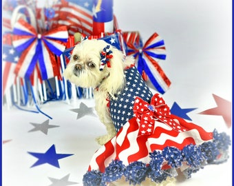 PATRIOTIC:  Stars and Stripes Forever DOG DRESS