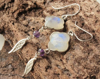 Rainbow Moonstone Earrings, Sterling Silver, milky white gemstone, statement boho earrings, amethyst, feather charms, holiday gift, 4442