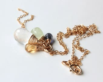 Mixed Gemstone Cluster Necklace, Quartz, Citrine, Prehnite, Iolite, Goldfilled wire wrap, chain fringe pendant, holiday gift for her, 4336