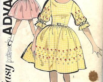 Vtg 1950's Sew Easy Advance 2810 Girls Full Skirted Dress Pattern, Size 7