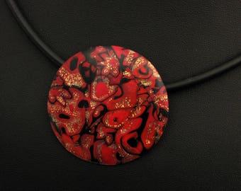 Halskette in schwarz, gold und rot aus handgefertigten Polymer Clay, Kette  Millefiori, Millefleur,  Fimo