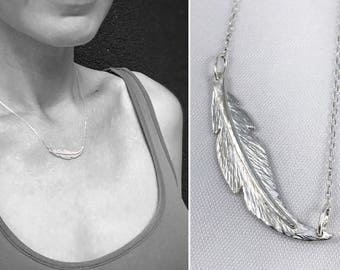 Sterling Silver Feather Necklace - Small Sideways Curved Feather - Hand Forged Unique Feather - Solid Sterling Silver
