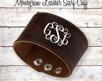 Monogram LEATHER Scarf Cuff / Monogram LEATHER Cuff Bracelet, Vinyl Monogram
