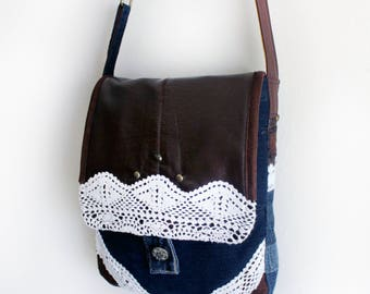 Upcycled Denim Messenger Bag with Doily Lace and Faux Leather Handmade Unique