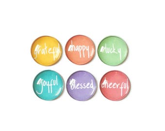 Fridge Magnets + Tin / Inspirational Magnets / Glass Magnets / Refrigerator Magnets / Decorative Magnets / Quote Magnets / Teacher Gifts