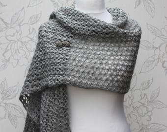 Grey Knit Wrap, Grey Lace Stole, Soft Grey Lace Scarf,  Bridesmaid's Knit Gray Shawl, Gift for Her, Wedding Accessory, Knit Wool Blend Wrap