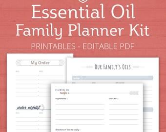 Essential Oil Family Planner, Printable, Essential Oil Journal, EO Planner, Essential Oil Kit, Essential Oil Family, Editable, gift for her