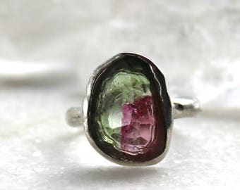 tourmaline ring, hand carved, pink tourmaline, silver ring, rose cut, fancy cut, gifts for her, watermelon tourmaline, recycled silver