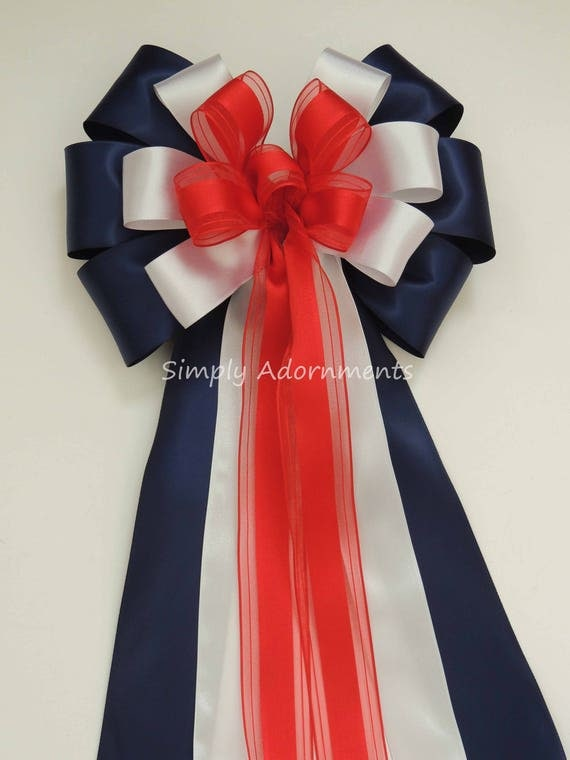 Red White Blue Bow Patriotic Wedding Pew Bow 4th of July Party Decor July 4th wreath Bow Patriotic Gift Bow Independence Day Party Decor