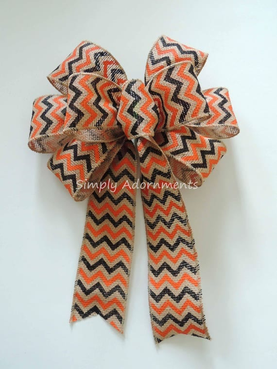 Halloween Chevron Burlap Wreath Bow Fall Orange Black Chevron Burlap Bow Rustic Fall Chevron Burlap Bow Halloween Burlap Door Hanger Bow