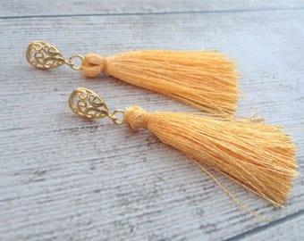 """Apricot Tassel Earrings Matte Gold Filigree Teardrop Statement Tassle Earrings, 2"""" Apricot Silk Tassels, Wedding, Bridal, Holiday Jewelry"""