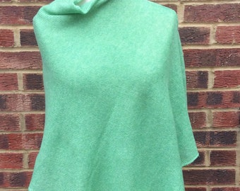 Spring Green Knit Womens boat Neck Poncho, with 3/4 sleeves.Light and soft Wool A line Cape. Assymetrical  Trendy Plus Size Petite  Poncho