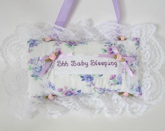 Shh Baby Sleeping Pillow, Personalized Pillow, Lavender Florals, Pink Roses and Lace, Cottage Chic Decor, Nursery Pillow