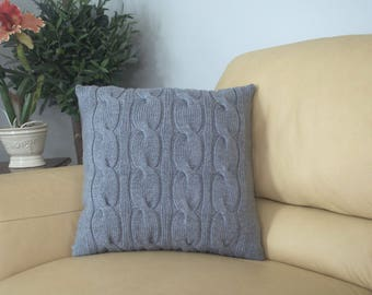 Light Gray Pillow Cover 20 x 20 Square Pillow Case Handknit with Cable Pattern