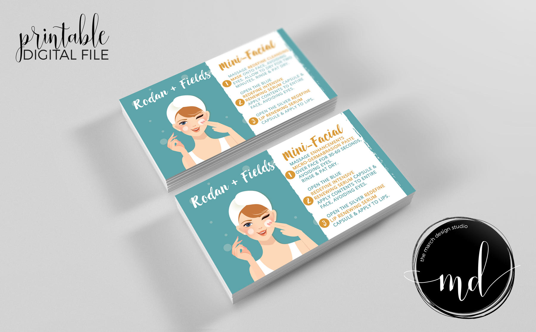 Rodan and Fields Mini Facial Cards Instant Download Rodan