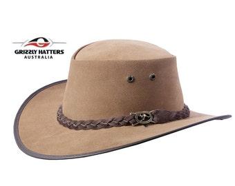 Australian Outback Squashy Bush Hat SUEDE finish - genuine COWHIDE LEATHER in Cinnamon / Mocca Color handmade in Australia - Squashy