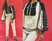 vintage Romanian Black Puff Embroidered Traditional Folk Blouse