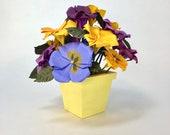 Origami Flower Arrangement, Paper Pansies