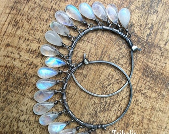 Moonstones Rustic Sterling Silver A118 * Luna Llena * Full Moon Flashing Moonstones earrings fine gypsy . sterling silver hoops . large boho