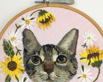 Custom Pet Portrait Embroidery   Pet Memorial   Embroidered Pet Portrait   Pet Embroidery Dog Portrait Cat Portrait   Animal Embroidery