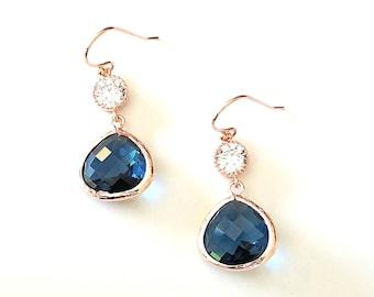 Sapphire Earrings, Navy, Wedding Earrings, bridesmaid gift, bridal Earrings, Clear Earrings, Gold Earrings, Bridesmaid gift