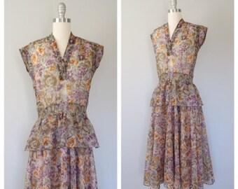 vintage 1970s Jonathan Logan floral chiffon dress with peplum size small