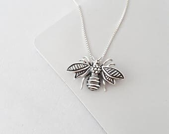 Bee Necklace - Bee Jewelry - Honey Bee Necklace - Sterling Silver Necklace - Bumble Bee Necklace - Nature Jewelry - Gift For Her