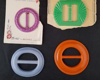 Four Colorful Vintage Plastic Buckles