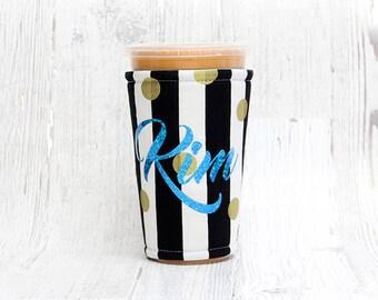 Iced Coffee Cozy, Coffee Cozy,  Cup Cozy, Cup Sleeve,  Coffee Cuff, Wedding, Custom Name, Bridesmaid Gift, Bridesmaid,